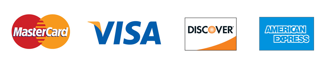 logos of Mastercard, Visa, Discover, American Express