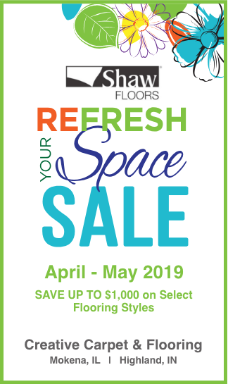 Shaw Refresh Your Space Sale at Creative Carpet & Flooring April - May 2019