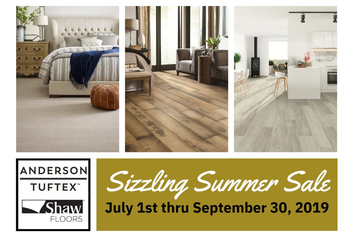 Sizzling Summer Sale Anderson Tuftex Shaw Carpet Hardwood Luxury Vinyl LVT