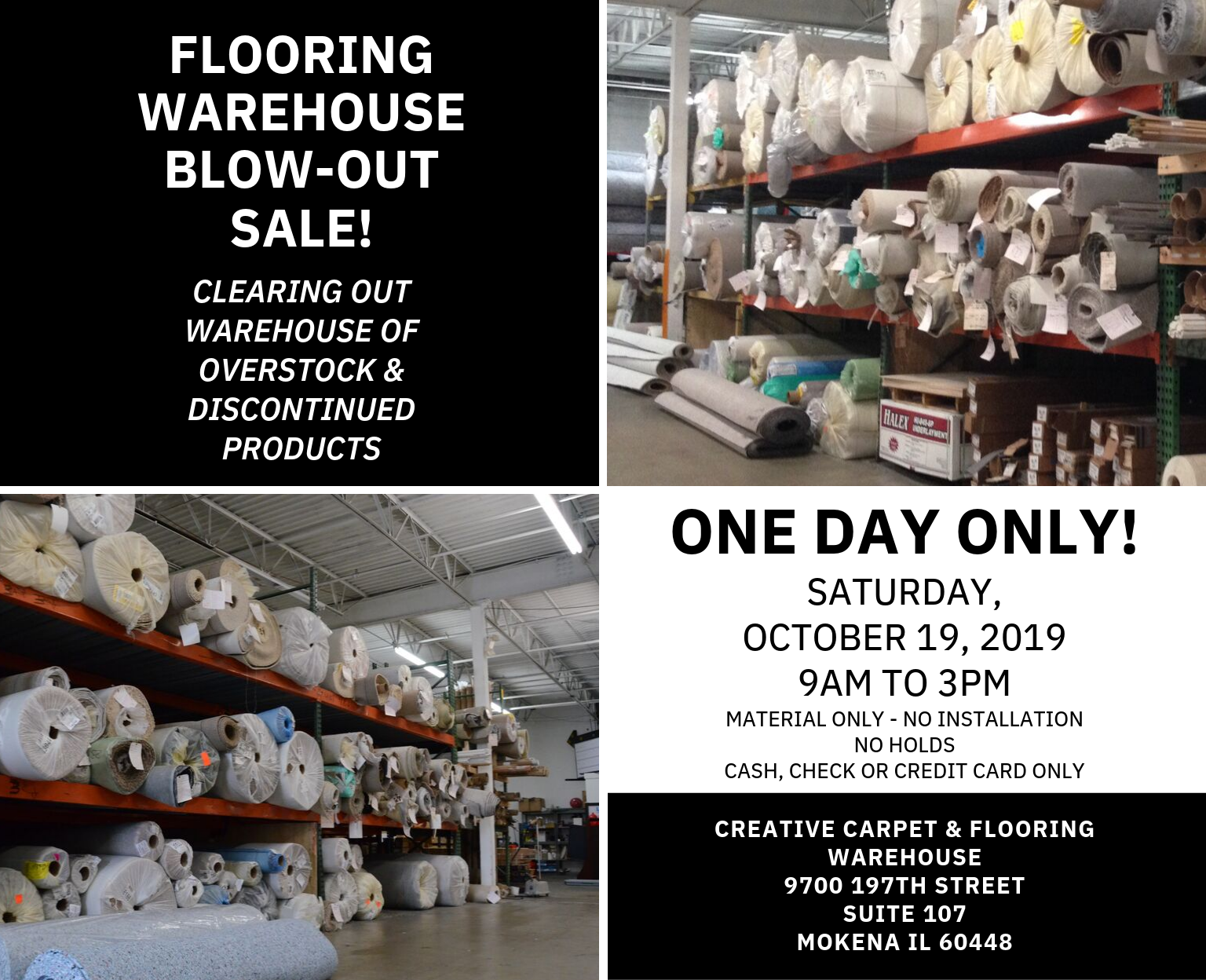 flooring warehouse blow-out sale